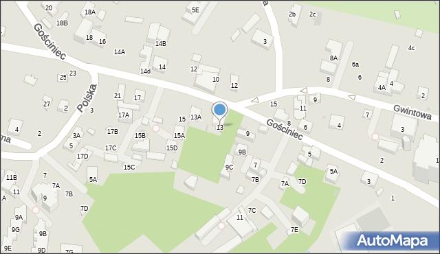 Warszawa, Gościniec, 13, mapa Warszawy