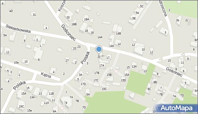 Warszawa, Gościniec, 21, mapa Warszawy