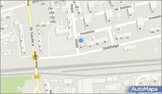 Zabrze, Goethego Johanna, 34, mapa Zabrza