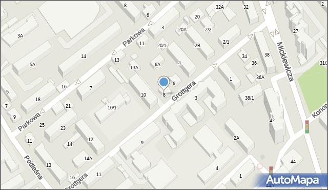 Białystok, Grottgera Artura, 8, mapa Białegostoku