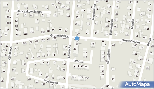 Chełm, Grunwaldzka, 32, mapa Chełma