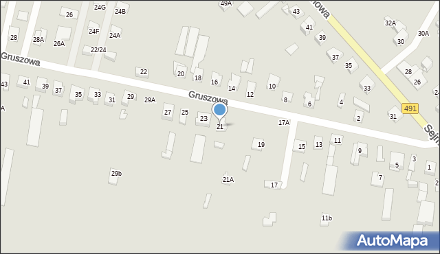 Częstochowa, Gruszowa, 21, mapa Częstochowy
