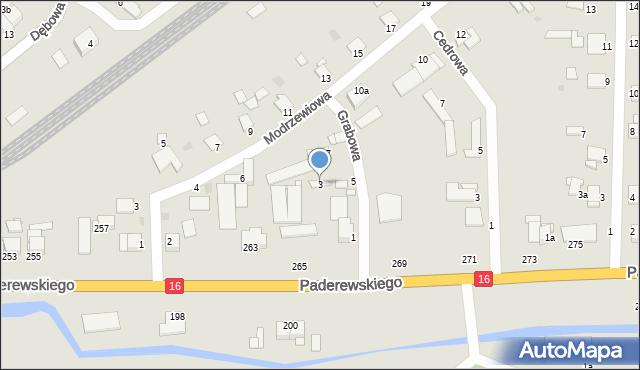 Grudziądz, Grabowa, 3, mapa Grudziądza