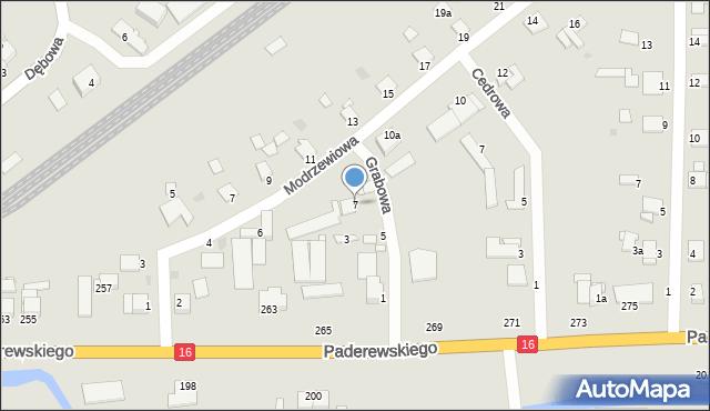 Grudziądz, Grabowa, 7, mapa Grudziądza