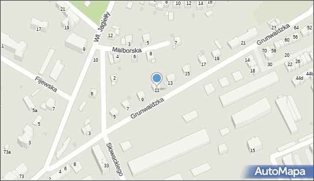 Grudziądz, Grunwaldzka, 11, mapa Grudziądza