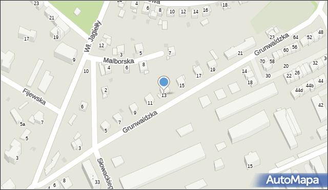 Grudziądz, Grunwaldzka, 13, mapa Grudziądza