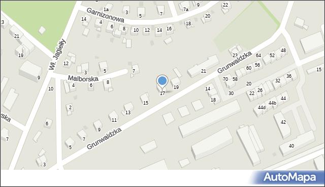 Grudziądz, Grunwaldzka, 17, mapa Grudziądza