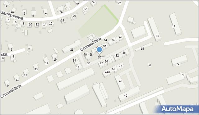 Grudziądz, Grunwaldzka, 20, mapa Grudziądza