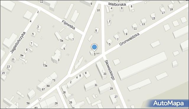 Grudziądz, Grunwaldzka, 3, mapa Grudziądza