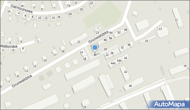 Grudziądz, Grunwaldzka, 30, mapa Grudziądza