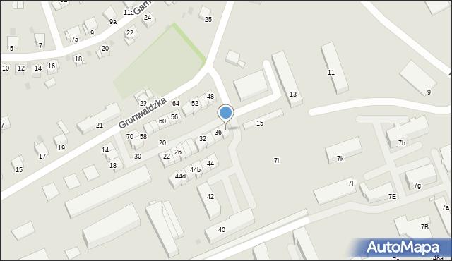 Grudziądz, Grunwaldzka, 38, mapa Grudziądza