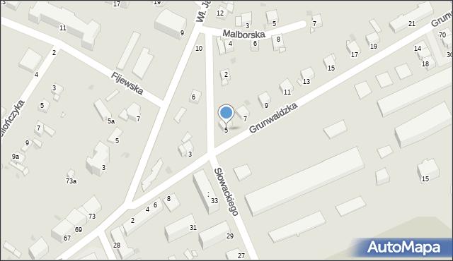 Grudziądz, Grunwaldzka, 5, mapa Grudziądza