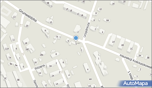 Jaworzno, Grunwaldzka, 1, mapa Jaworzno