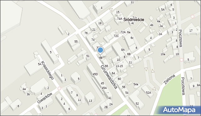 Jaworzno, Grunwaldzka, 68, mapa Jaworzno