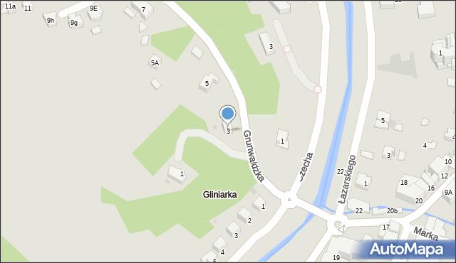 Limanowa, Grunwaldzka, 3, mapa Limanowa