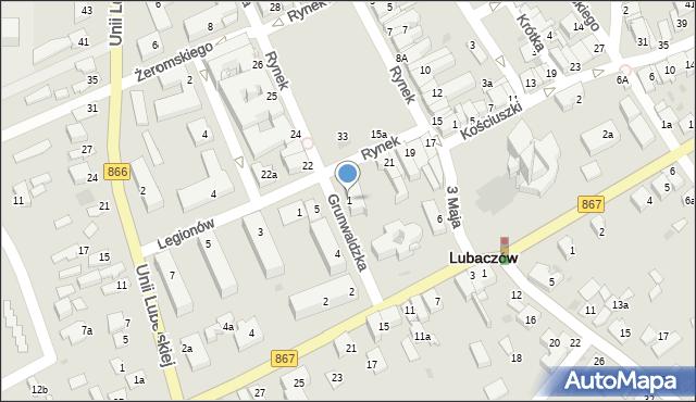 Lubaczów, Grunwaldzka, 1, mapa Lubaczów