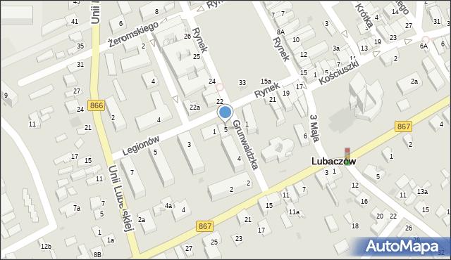 Lubaczów, Grunwaldzka, 5, mapa Lubaczów