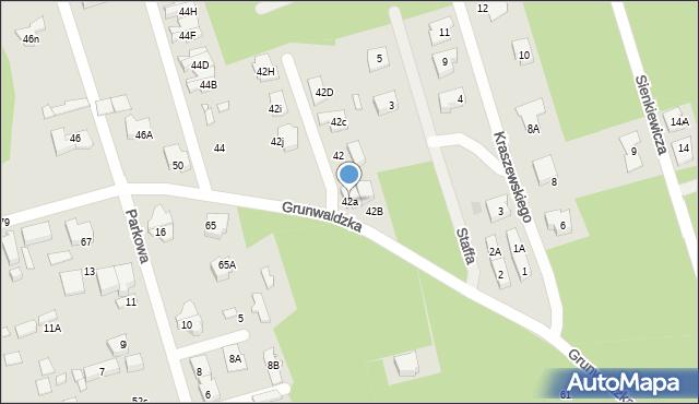 Marki, Grunwaldzka, 42a, mapa Marki