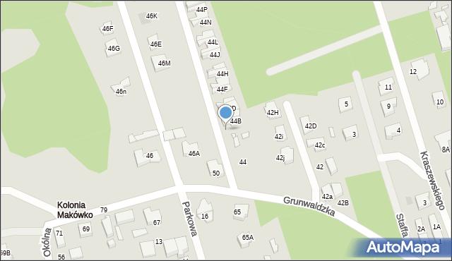 Marki, Grunwaldzka, 44a, mapa Marki