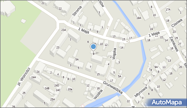 Olecko, Grunwaldzka, 9, mapa Olecko