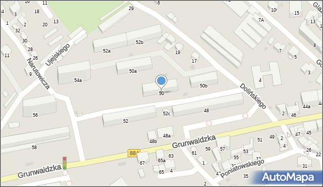 Przemyśl, Grunwaldzka, 50, mapa Przemyśla