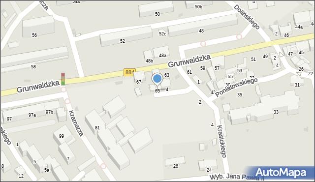 Przemyśl, Grunwaldzka, 65, mapa Przemyśla