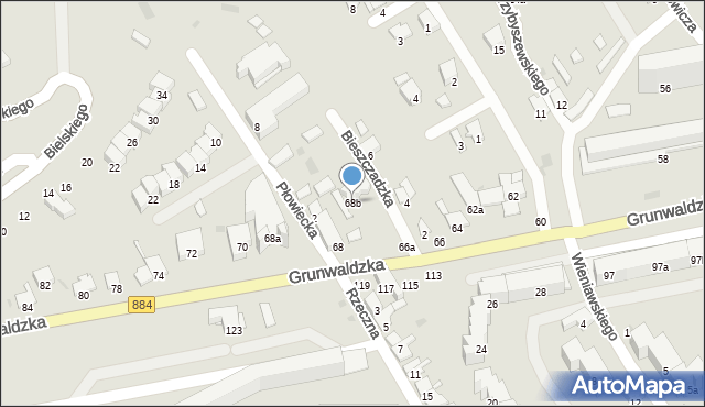 Przemyśl, Grunwaldzka, 68b, mapa Przemyśla