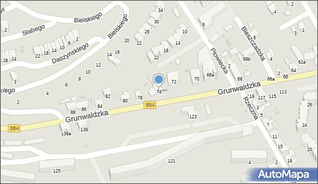 Przemyśl, Grunwaldzka, 74, mapa Przemyśla