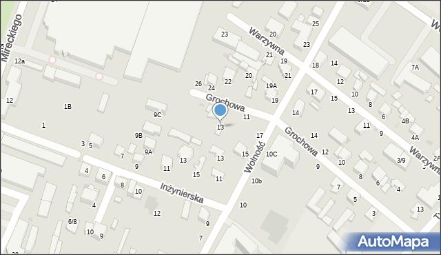 Radom, Grochowa, 13, mapa Radomia