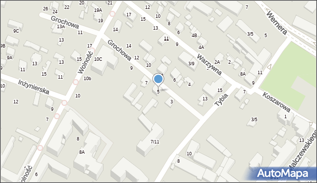 Radom, Grochowa, 5, mapa Radomia