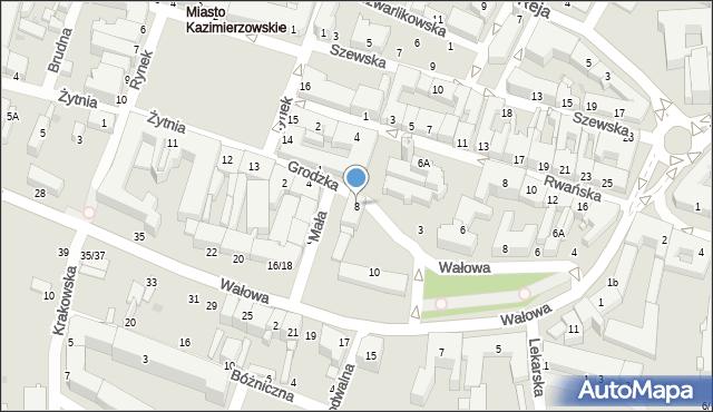 Radom, Grodzka, 8, mapa Radomia