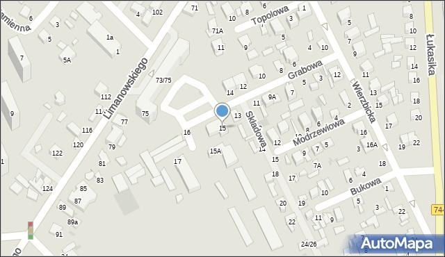 Radom, Grabowa, 15, mapa Radomia