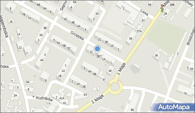 Ruda Śląska, Grodzka, 1B, mapa Rudy Śląskiej