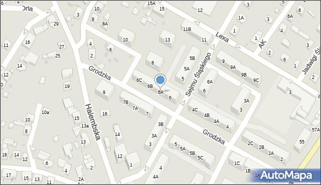 Ruda Śląska, Grodzka, 6A, mapa Rudy Śląskiej