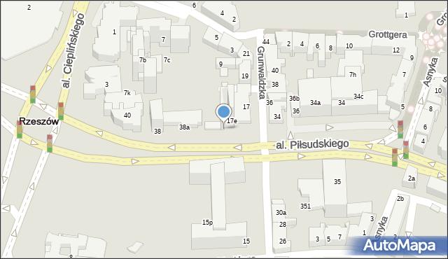 Rzeszów, Grunwaldzka, 17f, mapa Rzeszów
