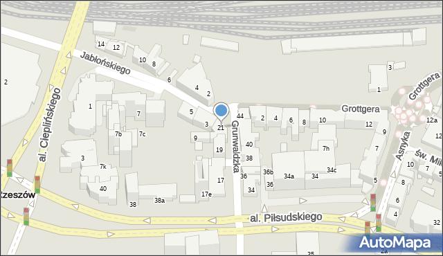 Rzeszów, Grunwaldzka, 21, mapa Rzeszów