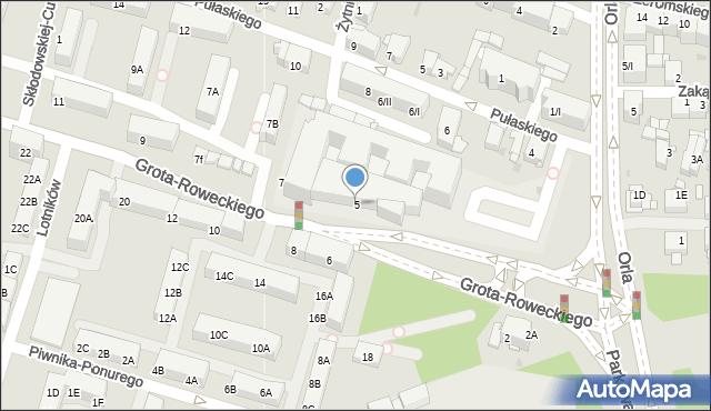 Sosnowiec, Grota-Roweckiego Stefana, gen., 5, mapa Sosnowca