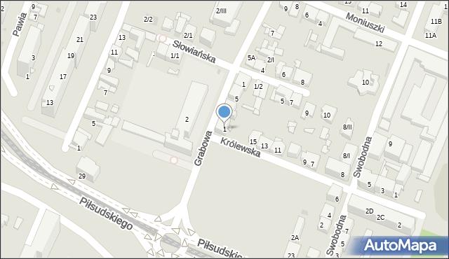 Sosnowiec, Grabowa, 1, mapa Sosnowca