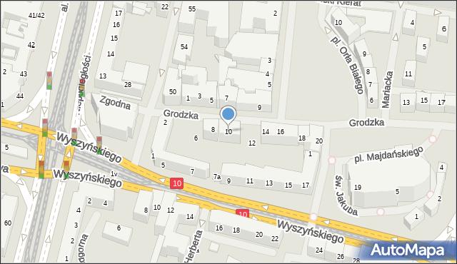 Szczecin, Grodzka, 10, mapa Szczecina