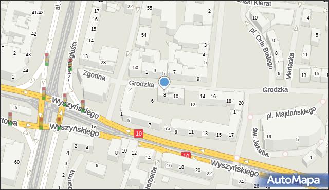 Szczecin, Grodzka, 8, mapa Szczecina