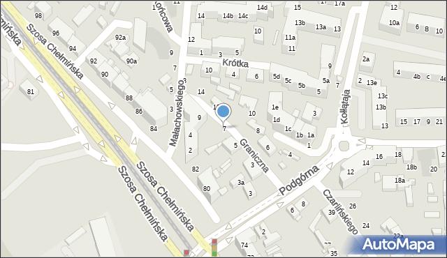 Toruń, Graniczna, 7, mapa Torunia