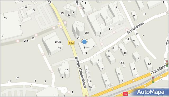 Toruń, Grudziądzka, 1, mapa Torunia