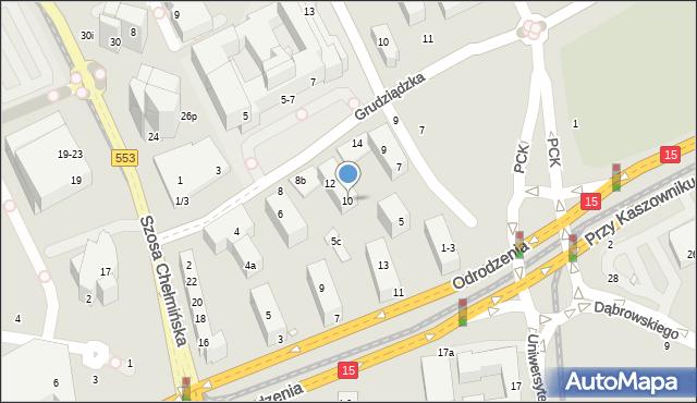 Toruń, Grudziądzka, 10, mapa Torunia