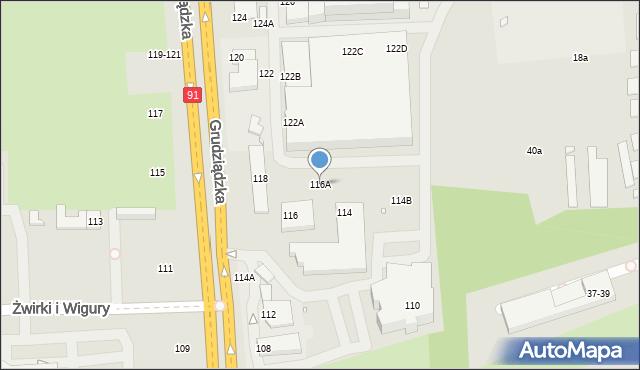 Toruń, Grudziądzka, 116A, mapa Torunia