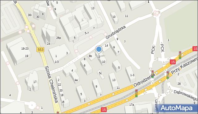 Toruń, Grudziądzka, 12, mapa Torunia