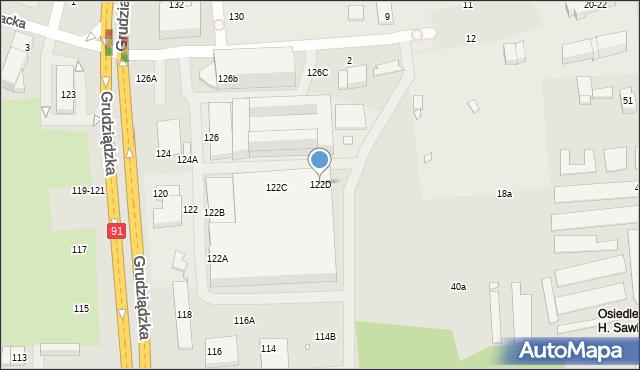 Toruń, Grudziądzka, 122D, mapa Torunia