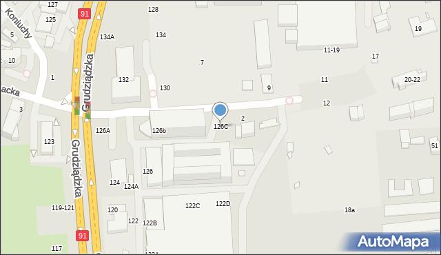 Toruń, Grudziądzka, 126C, mapa Torunia