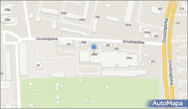 Toruń, Grudziądzka, 155a, mapa Torunia