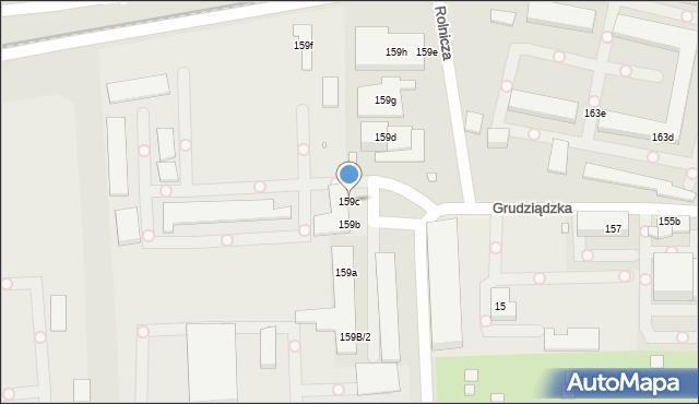 Toruń, Grudziądzka, 159c, mapa Torunia
