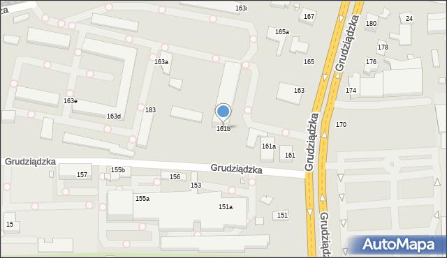 Toruń, Grudziądzka, 161b, mapa Torunia